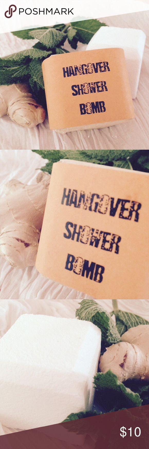 Hangover Shower Bombs - Set of 3 Simply drop the shower bomb into the water stream away from the drain and allow the steam to carry the healing and revitalizing essential oils into the air to ease your hangover gently.   With lavender, peppermint, eucalyptus and ginger essential oils, your headache and nausea will fade away. Juniper Other