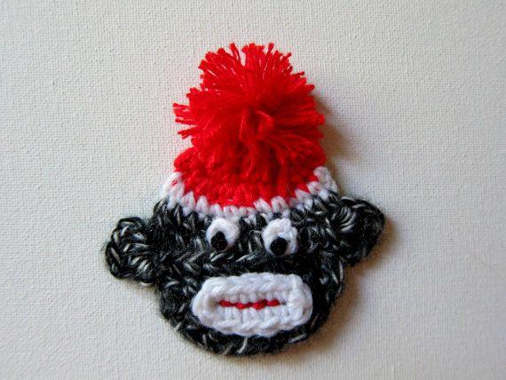 """1pc 3.5"""" Crochet SOCK MONKEY Applique"""
