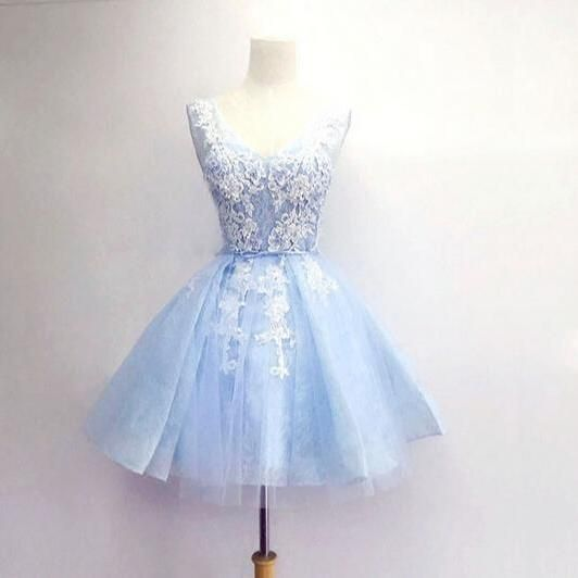 Lovely Handmade Light Blue Short Tulle and Lace Applique Prom Dresses 2017, Homecoming Dresses, Short Party Dresses