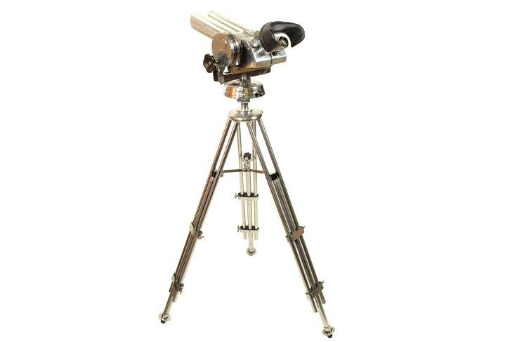 Military observation binoculars on metal adjustable tripod, German manufacture, 1940's, signed CXN O 59515.
