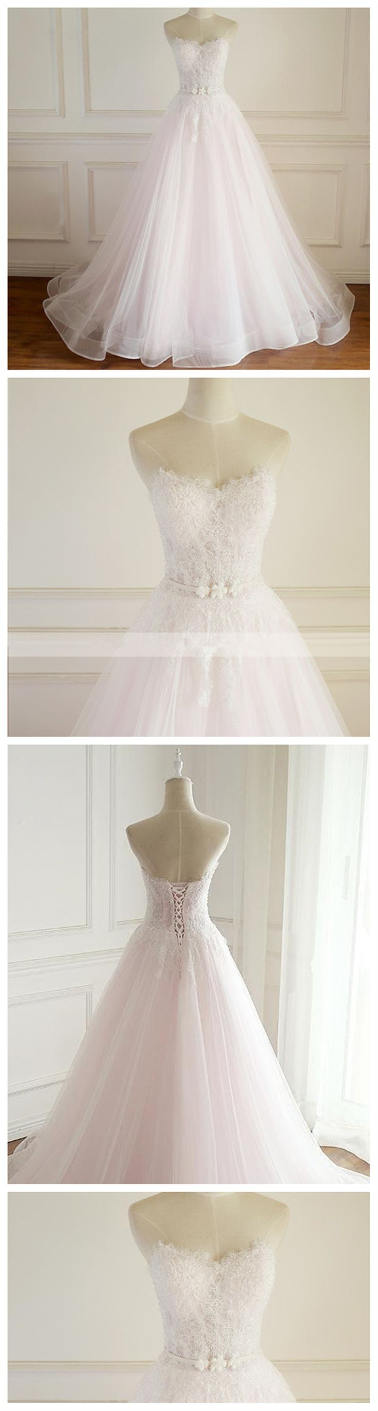 Simple Strapless Pale Pink Lace A line Wedding Bridal Dresses, Custom Made Wedding Dresses, Affordable Wedding Bridal Gowns, WD262