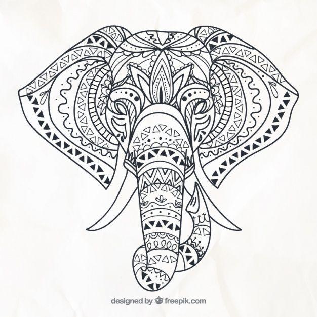 Elefante dibujado a mano en estilo étnico  Vector Gratis                                                                                                                                                                                 Más