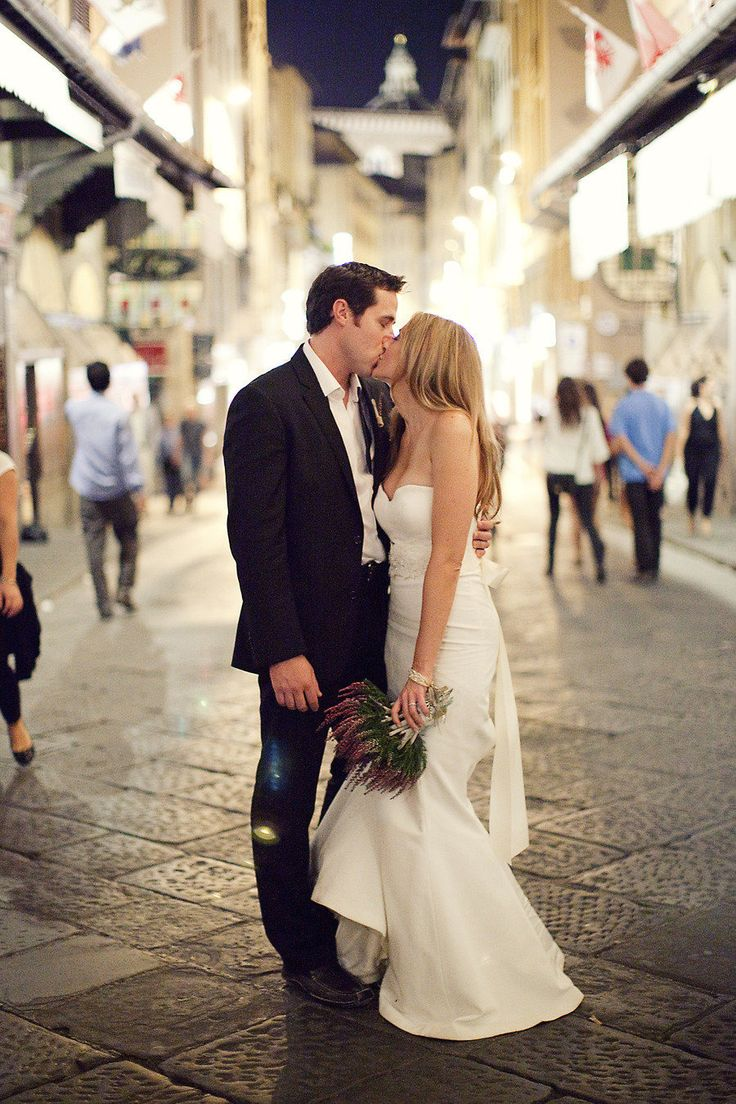 "Bride (in Nicole Miller ""Dakota"" wedding dress) & groom - They look like Ryan Reynolds and Blake Lively!"