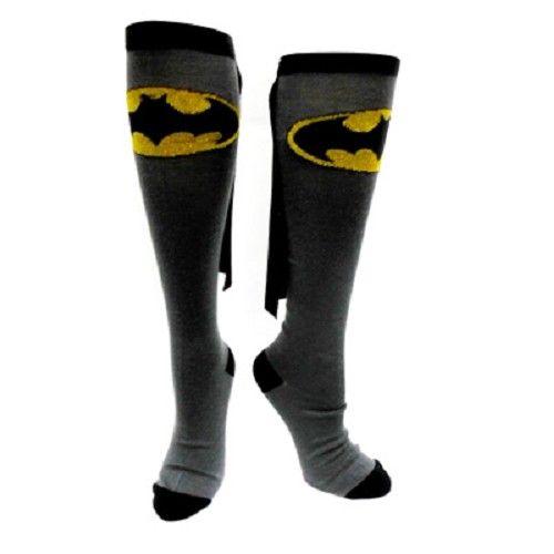Batman - Kostuum hoge knie sokken met cape grijs