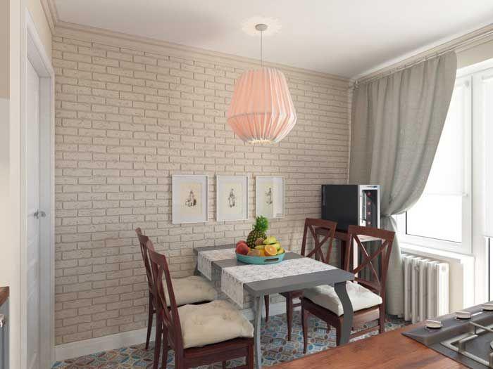 Дизайн столовой зоны на маленькой кухне в трехкомнатной квартире