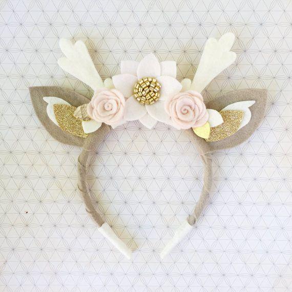 Deer Antler Crown Headband // boho felt flower crown