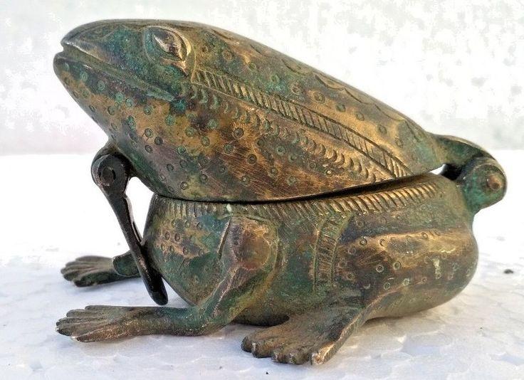 Vintage Handcrafted Unique Frog Design Engraved Brass Kum Kum Powder Tika Box #Handmade