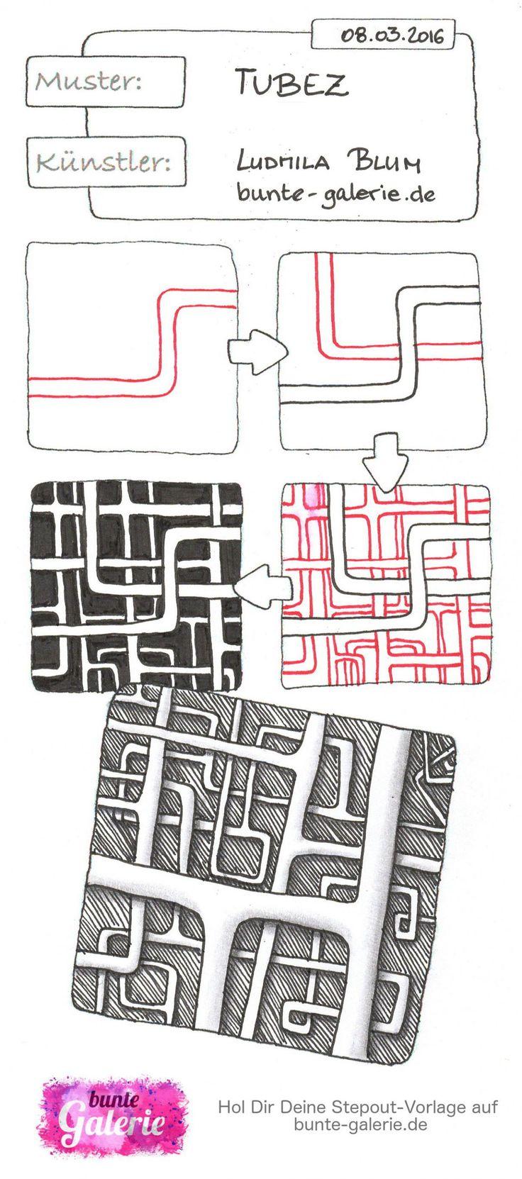 Stepout für Zentangle Muster Tubez von Ludmila Blum  Tuber tangle pattern                                                                                                                                                      More