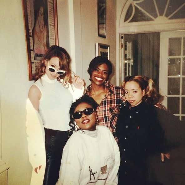 "1996, Mariah Carey, Kandi Burruss, Latocha Scott & Tameka ""Tiny"" Cottle at Mariah's house to record some background vocals for the remix of Always be my baby."