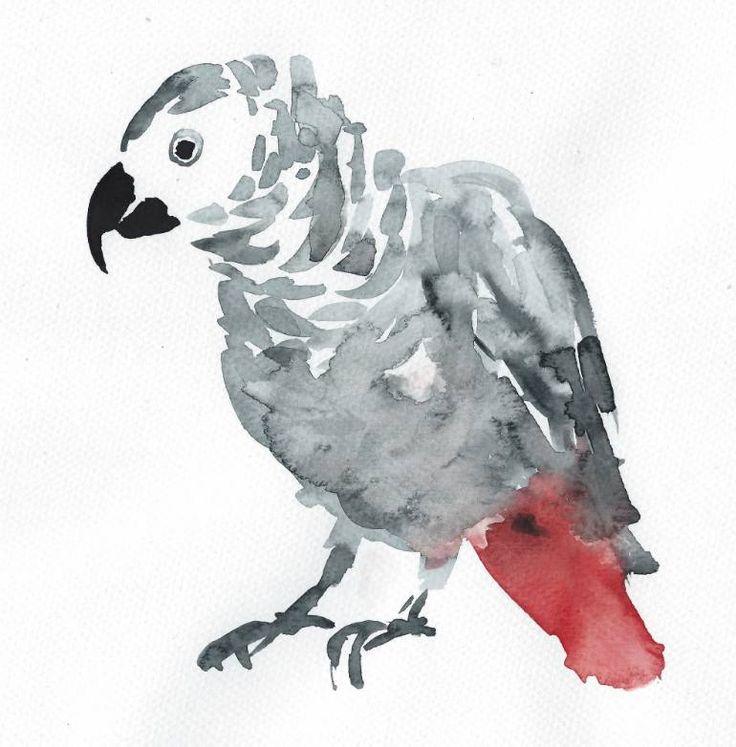 "Saatchi Art Artist Divena Smought; Painting, ""The african grey parrot"" #art"
