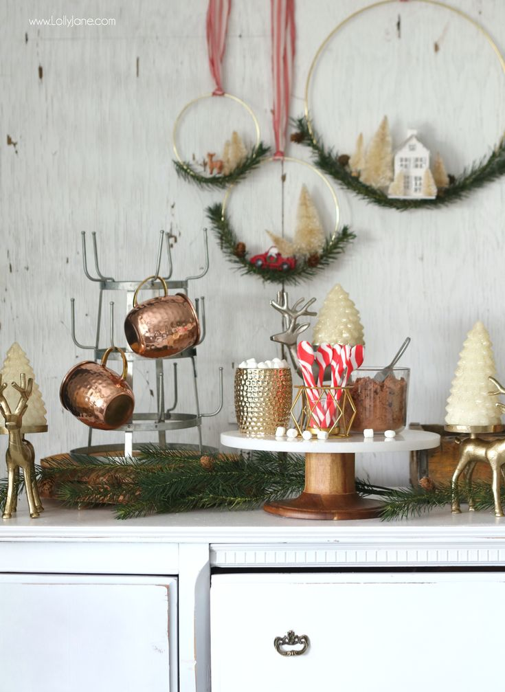 Glam Rustic Hot Chocolate Bar, so easy to set up! Leave it up all winter for little and big hands to grab and go!