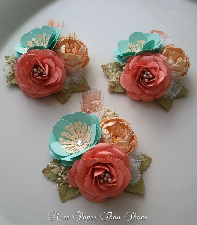 Lovely Set Of Salmon And Sea Foam Colored Corsages Paper