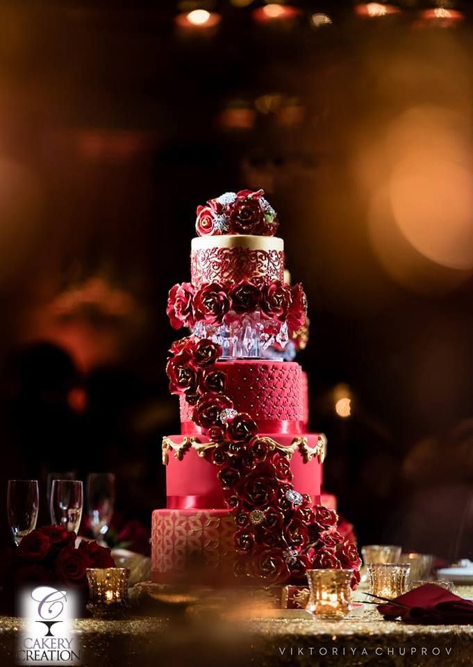 Red And Gold Wedding Cake At The Casa Monica Hotel St Augustine FL By