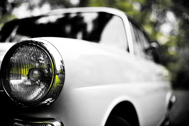 Mercedes Heckflosse - Scheinwerfer Perspektive in grün