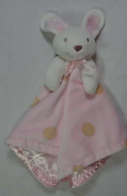 Blankets And Beyond Pink Tan Polka Dot Bunny Baby Blanket