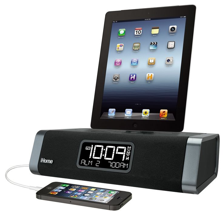 ihome 30 pin dual charging stereo fm clock radio with usb. Black Bedroom Furniture Sets. Home Design Ideas