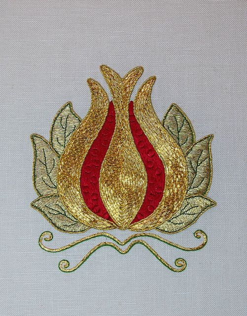 RED & GOLD Goldwork Pomegranate by RalRay Embroidery, via Flickr