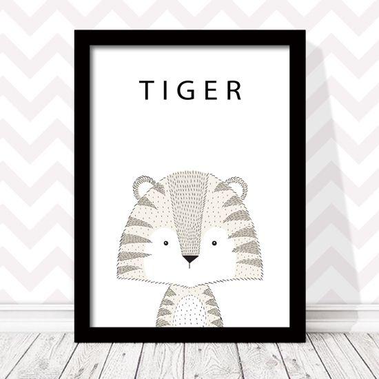 Αφίσα Τίγρη με περιγραφή στα Αγγλικά. #paidikaposter #afisespaidikes #littletiger #τιγράκι