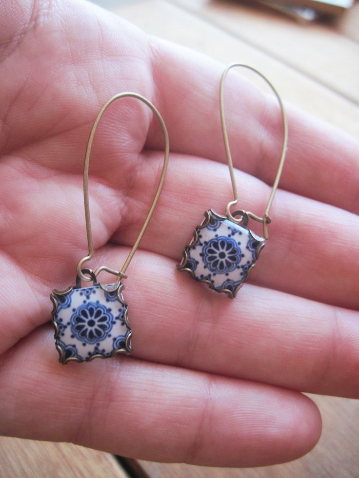 Dangle earrings, Mexican jewelry, Mexican Talavera tile drop earrings, Southwestern style, Boho rustic rose, Talavera Souvenir Jewelry. $27.00, via Etsy.