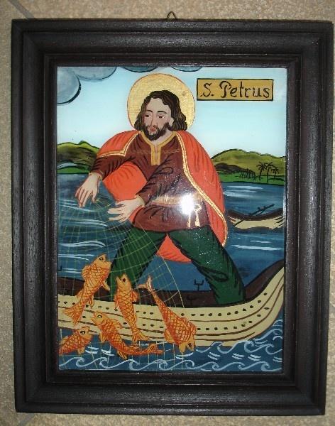Hinterglasmalerei - St. Petrus - handgemalt - reverse glass painting http://www.pinterest.com/bazylisa/reverse-glass-painting/