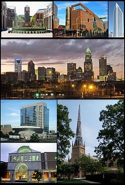 I love living here   Clockwise: UNC Charlotte, Harvey B. Gantt Center for African-American Arts + Culture, Duke Energy Center, Charlotte's skyline, First Presbyterian Church of Charlotte, Charlotte Main Library, and NASCAR Hall of Fame building
