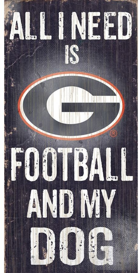 """$14 - NCAA Georgia Bulldogs Football & My Dog Sign -Dog and football lovers rejoice, this Georgia Bulldogs sign combines the best of both worlds. """"All I Need is Football and My Dog"""" text Painted in team colors Distressed look 12"""" x 6"""" MDF wood Wipe clean Imported Shop our full assortment of Georgia Bulldogs items here. When you're a fan, you're family! Size: One Size. Color: Multicolor."""