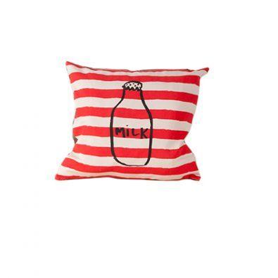 Cushion Cover Milk & Stripes by BOBO CHOSES « Bedspreads, pillows   Home decor, clothes and interior design