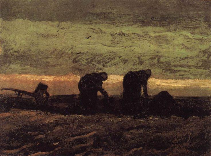 "Vincent van Gogh ""Two Peasant Women in the Peat Field"" /  October 1883, Drenthe /  Oil on canvas, 28 x 37 cm /  Rijksmuseum Vincent van Gogh, Amsterdam"
