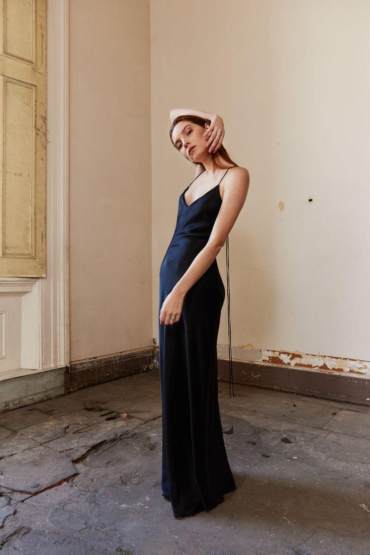 Kamperett Untitled Silk Charmeuse Slip Dress, Black