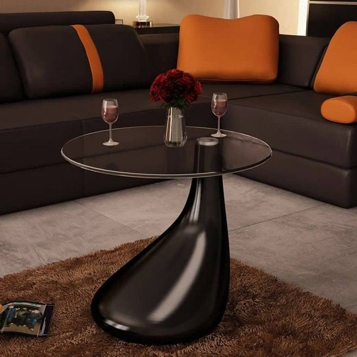 Details about Modern Coffee Table Black Round High Glass Top Stand Bedroom Side End Furniture