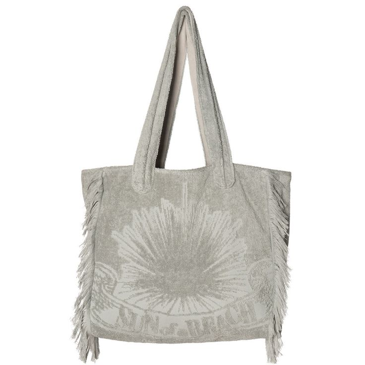 """New to our collection of bags, this multi-use bag is made from 100% Egyptian cotton towel and lined with cotton canvas. It is light and supple and has enough room for two towels and your other beach essentials, but can also be used as a city bag. It can be flat packed so it is perfect to take with you on your holidays. """"Just Silver"""" Poly Bag is the best pic for a minimal summer look!"""