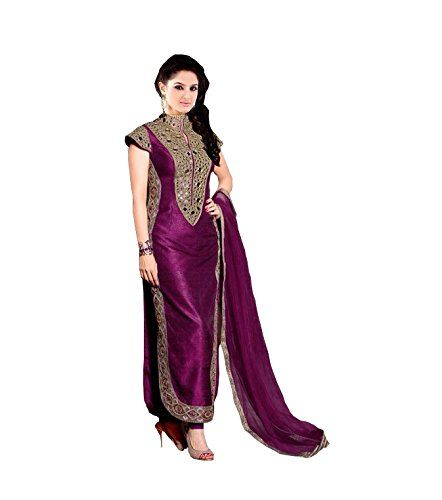 RapidDukan Semi-Stitched Purple Color Straight Salwar Suit: Amazon.in: Clothing & Accessories