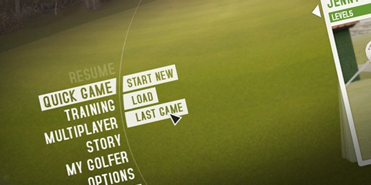 "#Interface design for a #trinigy engine based #golf sim, working title ""Pro Evo Golf"""