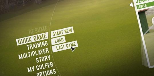 "#Interface design for a #trinigy engine based #golf sim, working title ""Pro Evo Golf"""