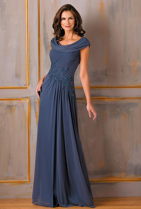 Jade by Jasmine. Chic and stylish, this special occasion dress is perfect for your next event. This Tiffany chiffon gown has a boat neckline, A-line skirt and beading detail on the sash and bodice.