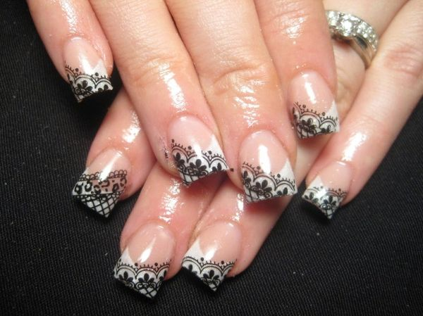 Love it!Black Lace, Lacenails, French Manicures, Nailart, Nails Design, Lace Nails, White Lace, Nails Art Design, Nail Art