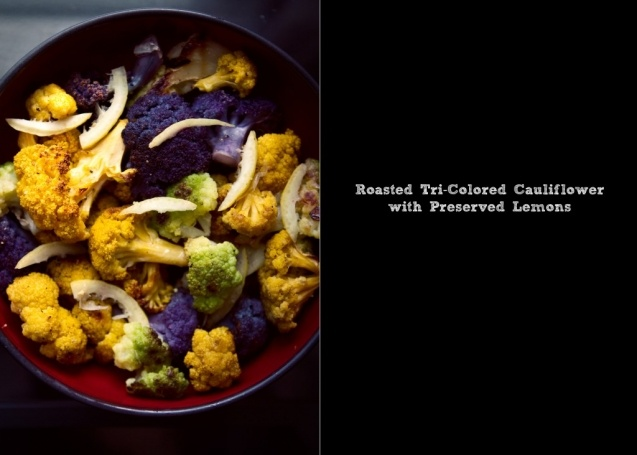 roasted tri-colored cauliflower with preserved lemon