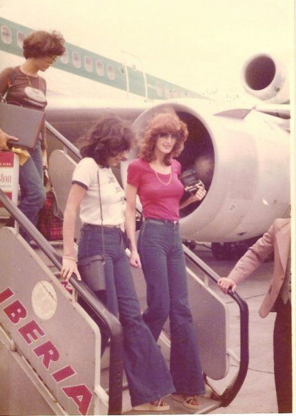 Traveling in blue jeans, c. 1970s. That was shocking because people used to get dressed up when flying. Now it's totally normal.
