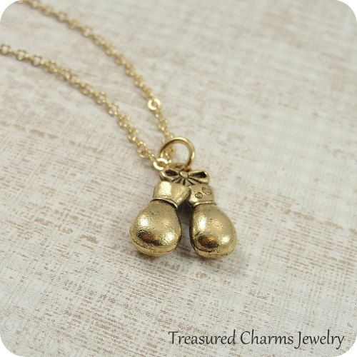 Boxing Gloves Necklace Gold Boxing Gloves Charm on a Gold