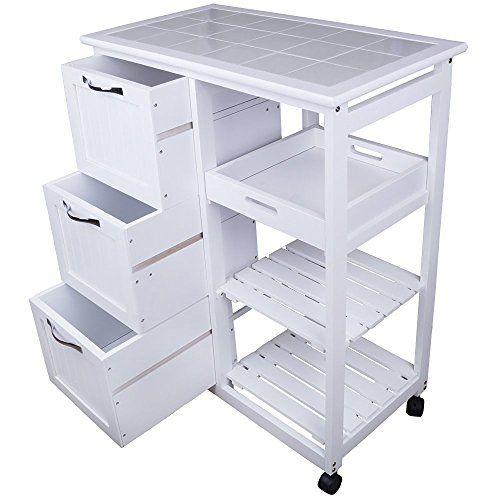 CRAVOG Küchenwagen Holz Küchentrolley Beistellwagen Servierwagen Küchenhelfer Rollwagen Weiß