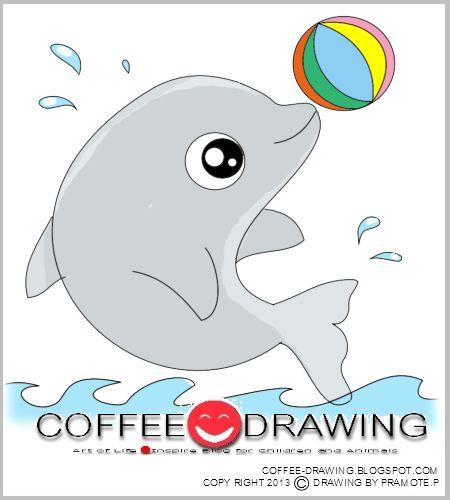 สอนเด็ก วาดรูปการ์ตูน โลมาแสนน่ารัก [ Dolphin] STEP by STEP FOR KIDS PART 61