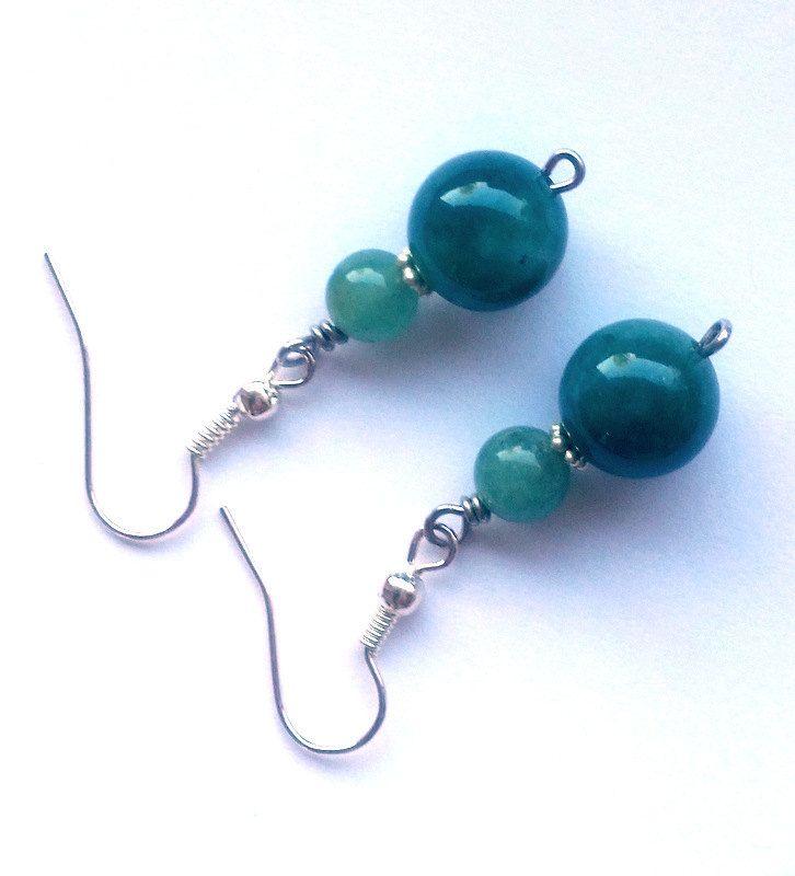 Green Jade earrings silver earrings handmade minimalist style dangle earrings silver earrings beaded earrings EU (15.00 USD) by lisaastrup