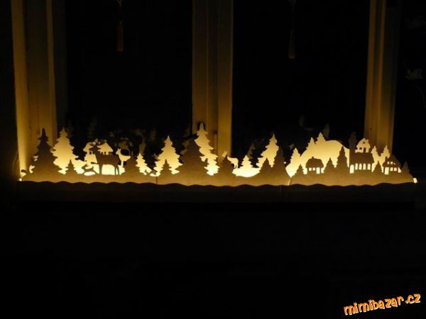 That's how you can decorate the window sill and create a fabulous festive atmosphere in the nursery. To work you need cardboard or heavy paper, foam, and Christmas garland with lights Cardboard cut stencil template. Between stencils to put foam and it Christmas garland | Getting Easy Craft Ideas