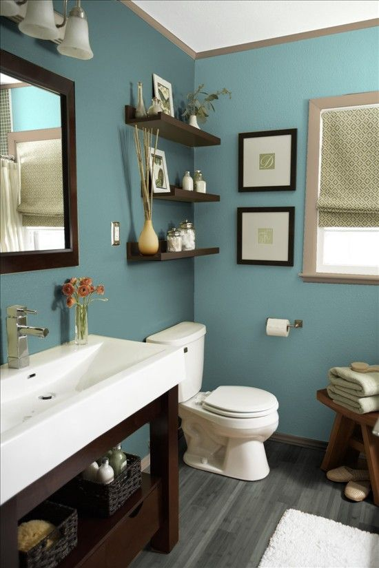 Sarah I Love This Bathroom I Like This Color With The Dark Wood And Porcelain Backdrop Also Like The Layout Of Stuff On The Shelves