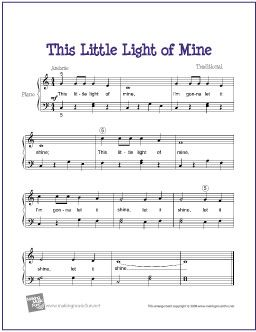 This Little Light of Mine (Bible Song) | Free Sheet Music for Easy Piano - http://makingmusicfun.net/htm/f_printit_free_printable_sheet_music/this-little-light-of-mine-piano-solo.htm