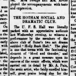 """Performance of Holly Bush Hall. """"whilst Mr. J. B. Stanway exercised his usual ability in the part of 'General Willis'"""" North Melbourne Afvertiser, 12 Sep 1884, p. 3, 'The Hotham Social and Dramatic Club'."""