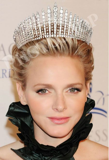 princess Charlene in the Queen Mary (of Great Britain) fringe tiara. Also worn by Queen Elizabeth (the Queen Mum and Elizabeth II), and Princess Anne (the Princess Royal).