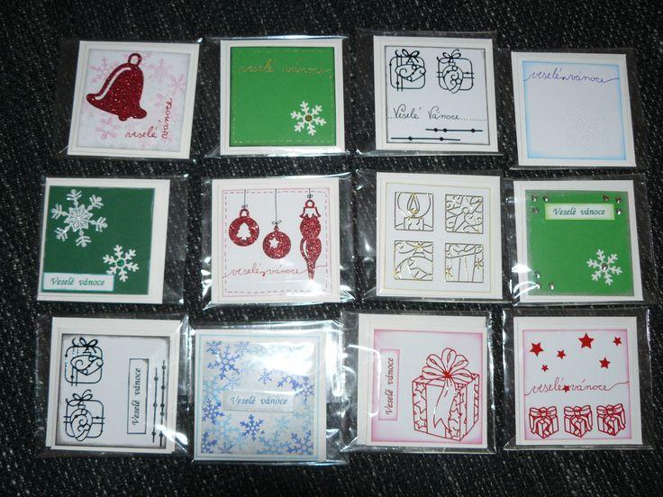 malá vánoční přáníčka na školní trhy - little christmas cards for school trade 2014