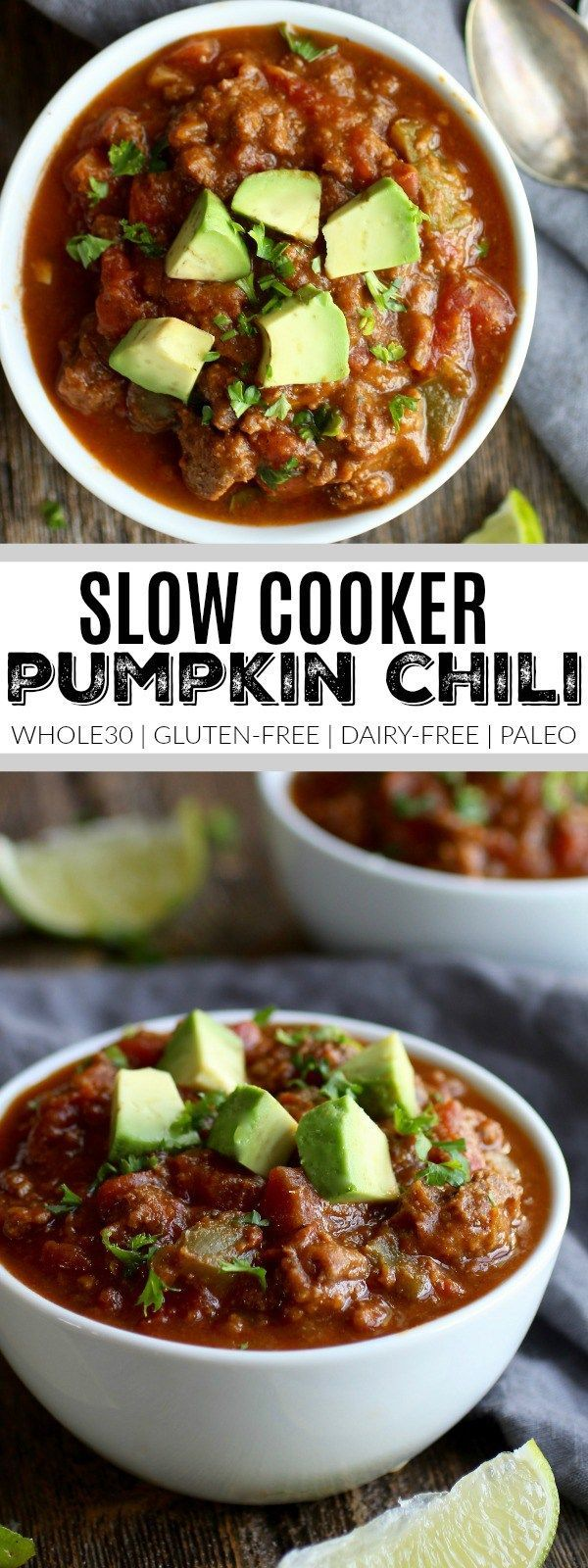 Slow-Cooker Pumpkin Chili | whole30 slow cooker recipes | whole30 chili recipes | whole30 dinner recipes | gluten-free slow cooker recipes | gluten-free chili | gluten-free dinners | paleo slow cooker recipes | paleo chili | paleo dinners | dairy-free slow cooker recipes | dairy-free chili | dairy-free dinners || The Real Food Dietitians #slowcookerchili