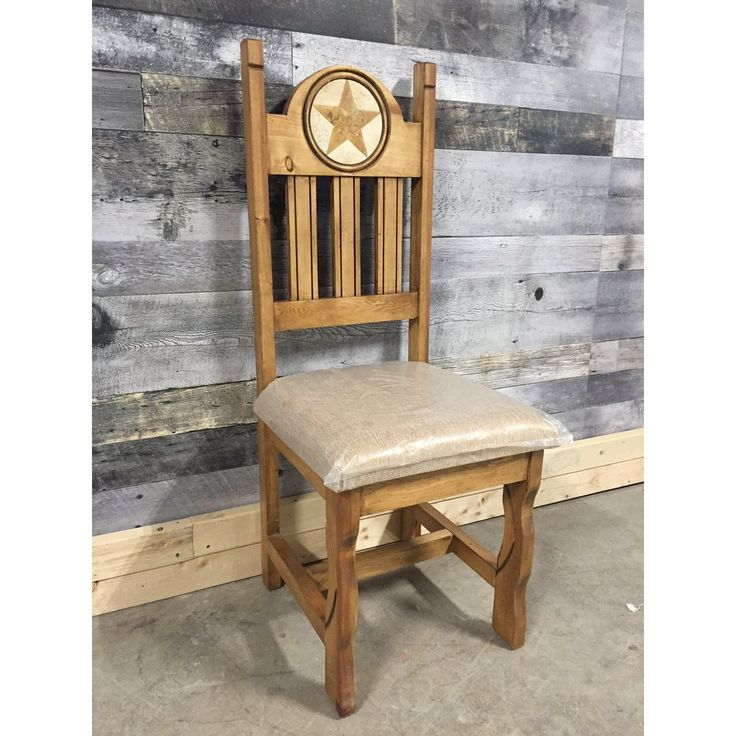 Marble inlay Star carving rustic pine chair with cushion - Rustic Furniture Outlet